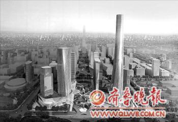 济南西客站CBD效果图.-500米,济南将建 齐鲁第一高高清图片